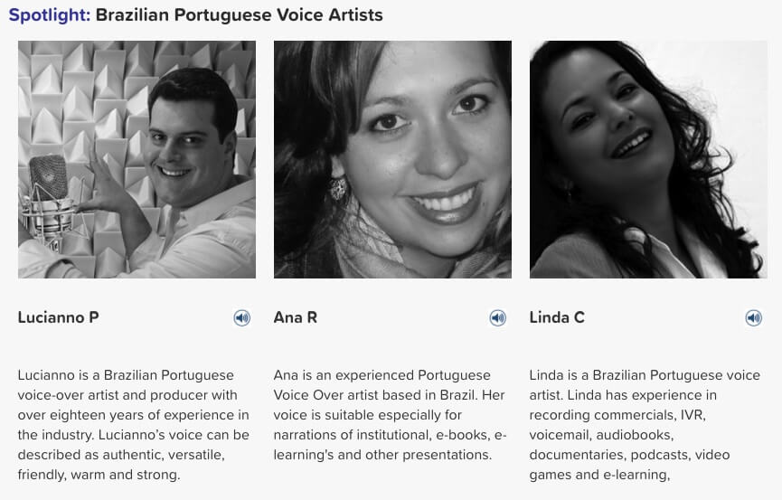 Brazilian Portuguese voice artists