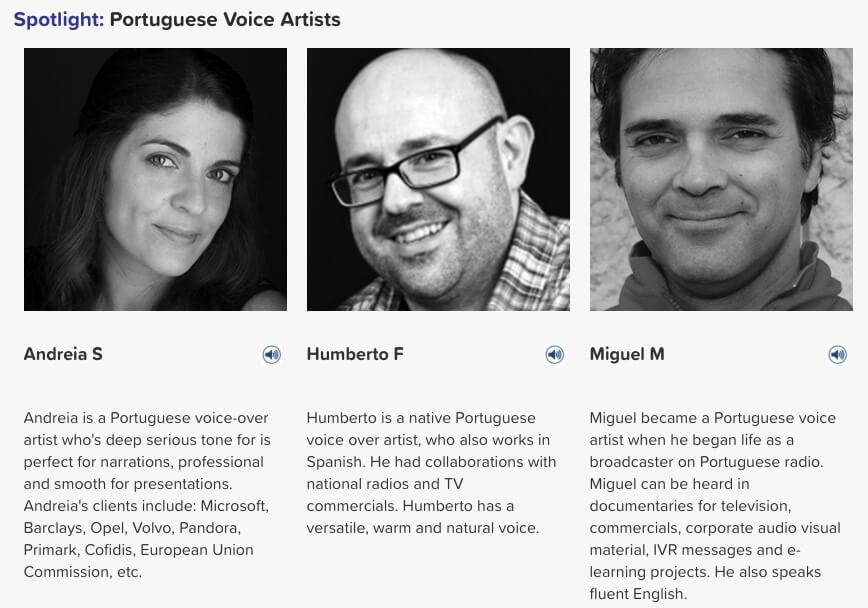 Portuguese voice artists