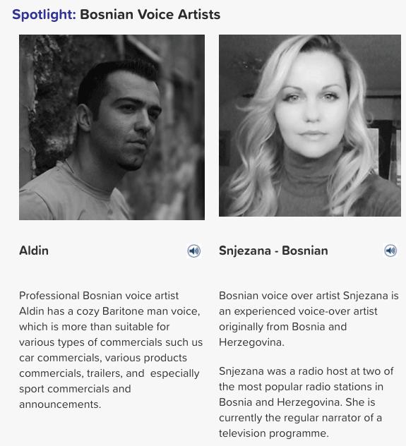 Bosnian voice artists