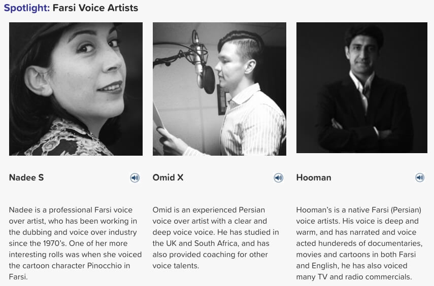 Farsi voice artists