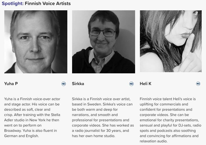 Finnish voice artists