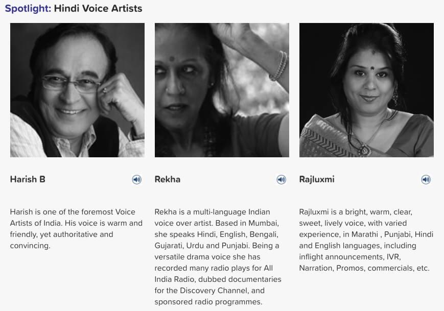 Hindi voice artists