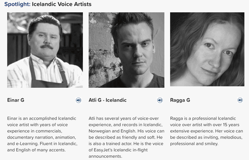 Icelandic voice artists