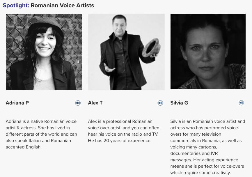 Romanian voice artists