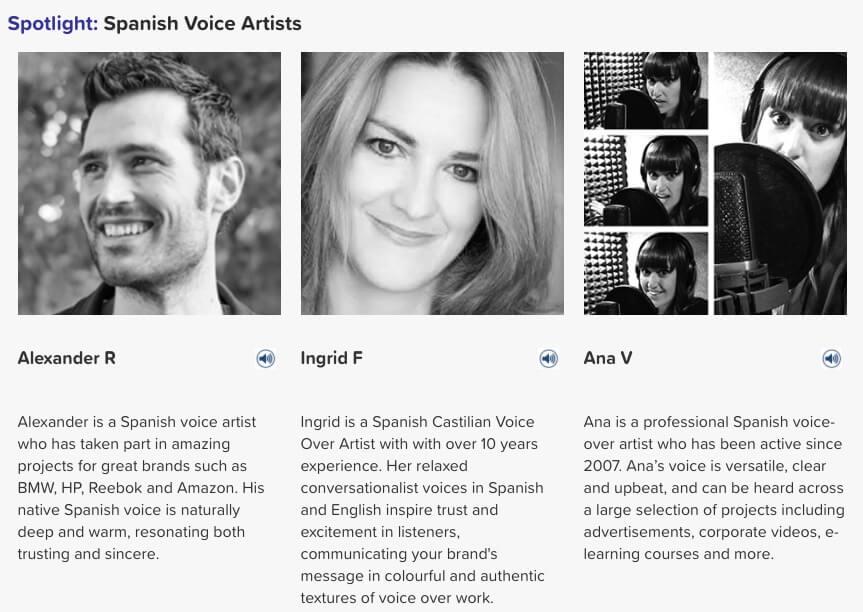 Spanish voice artists