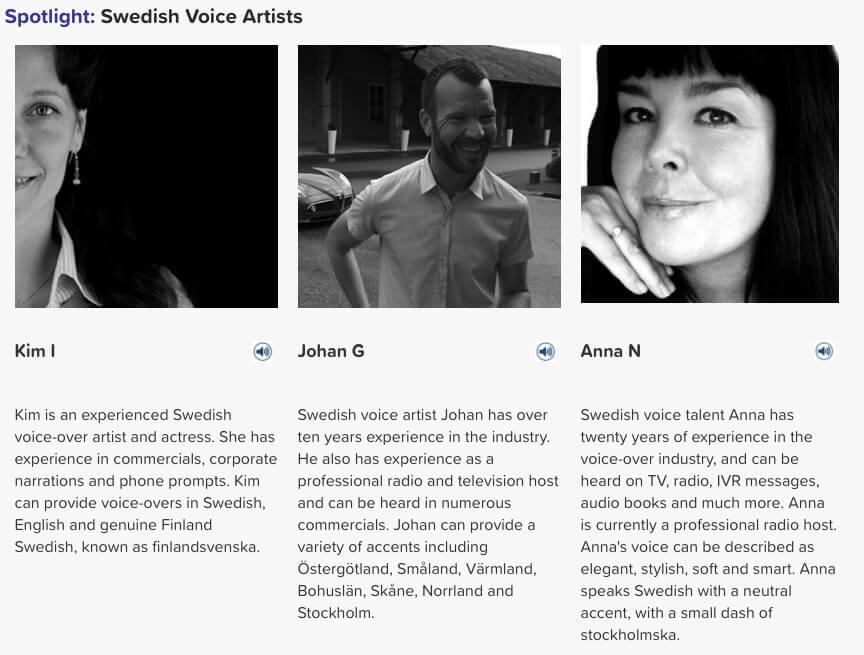 Swedish voice artists