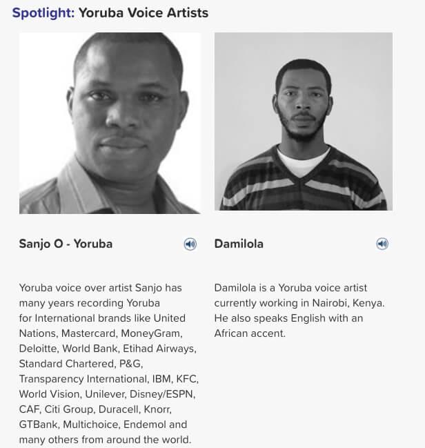 Yoruba voice artists