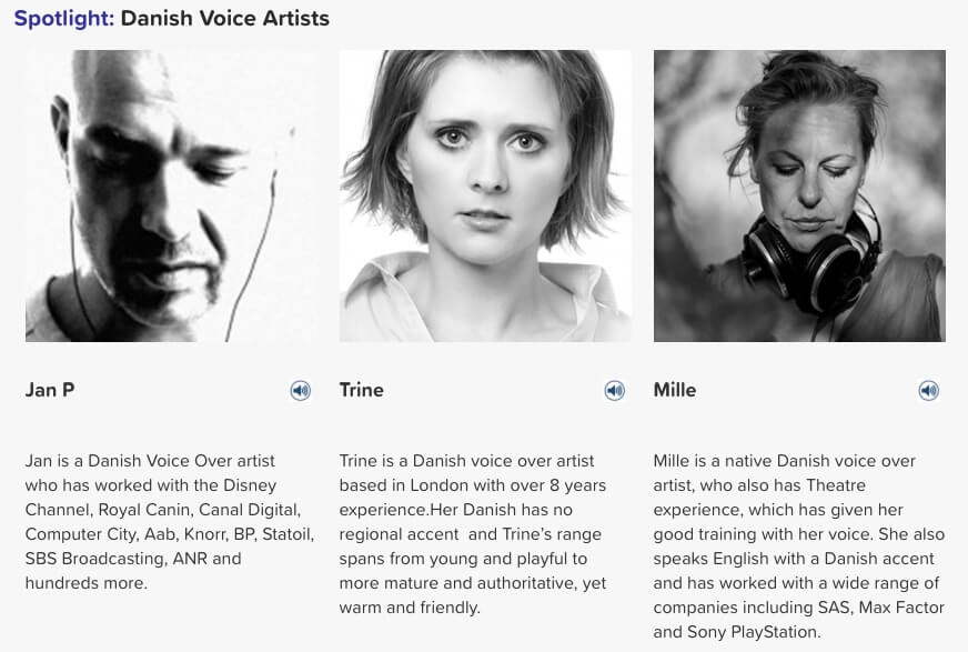 danish voice artists