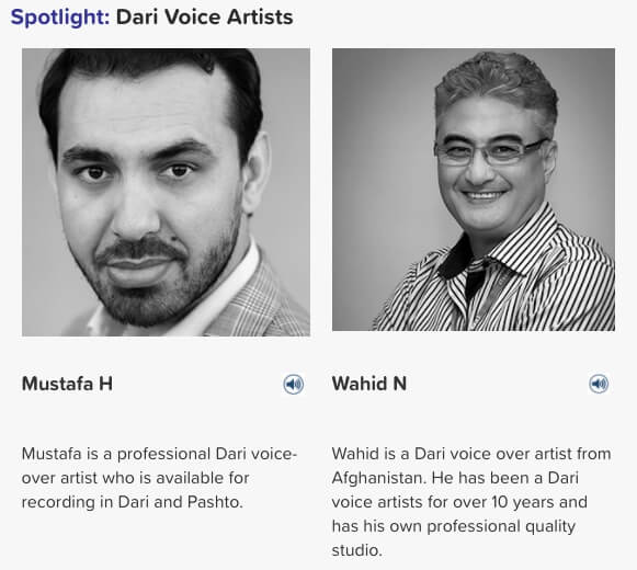 dari voice artists