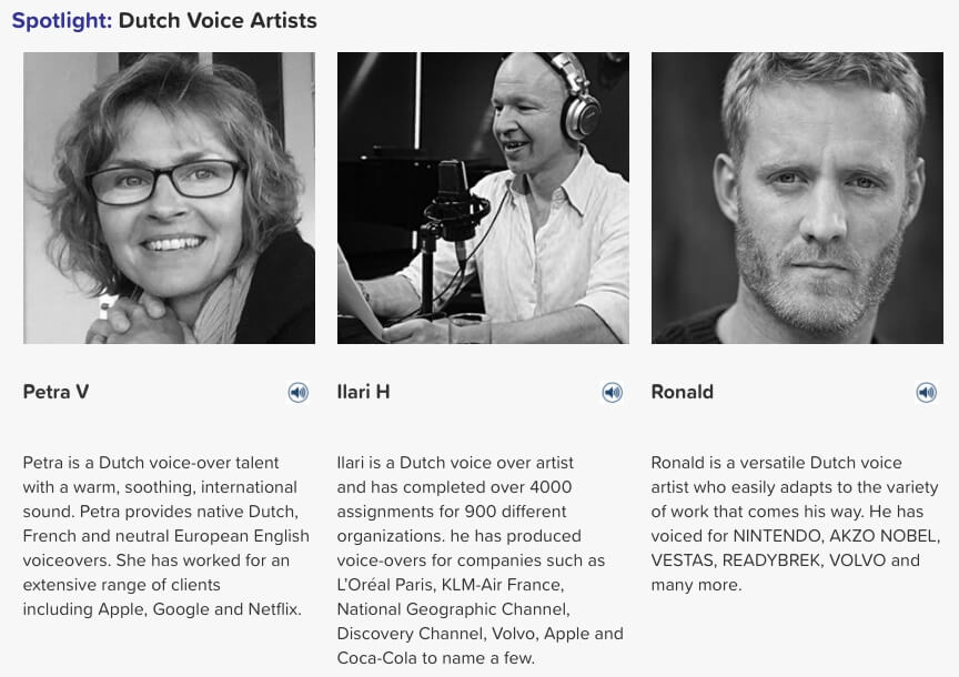dutch voice artists