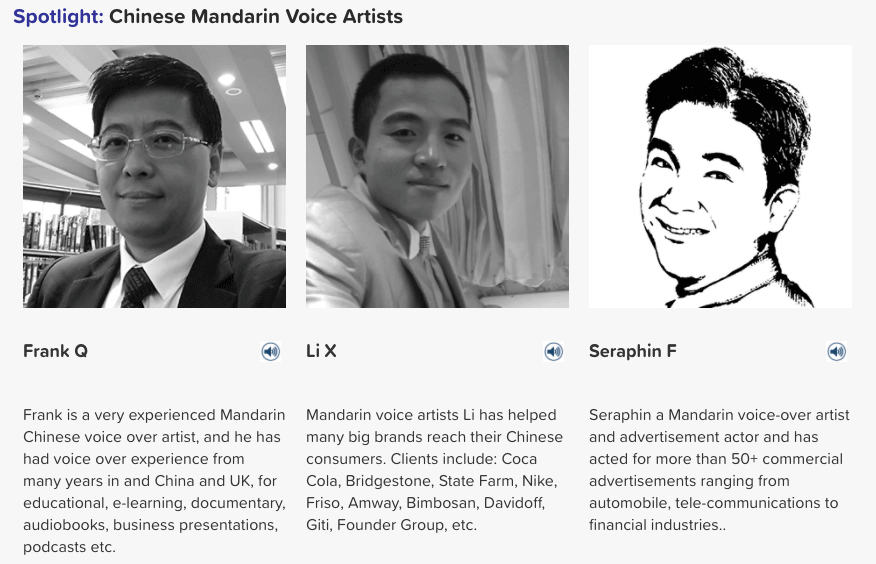 mandarin voice artists