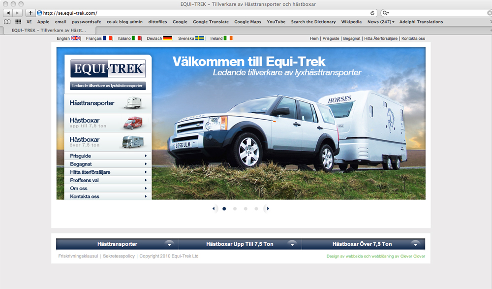 Swedish website for Equi-trek