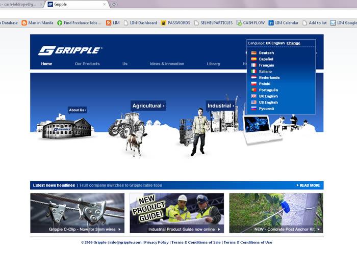 Gripple Website in Eight Languages