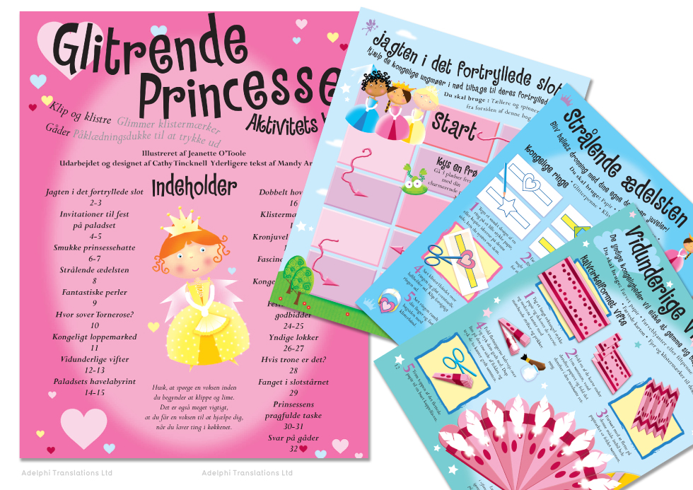 Danish translation and typesetting of children's puzzle book (Click to enlarge)